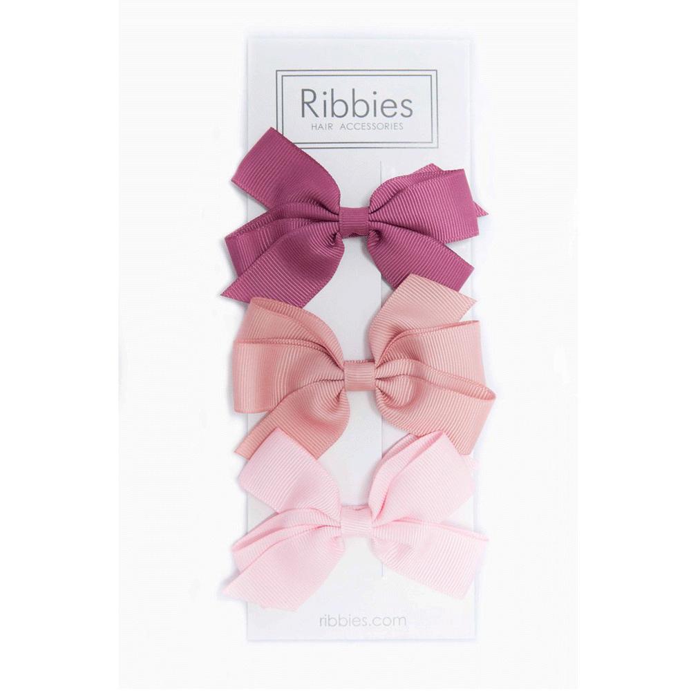Ribbies|經典中蝴蝶結3入組-玫瑰粉