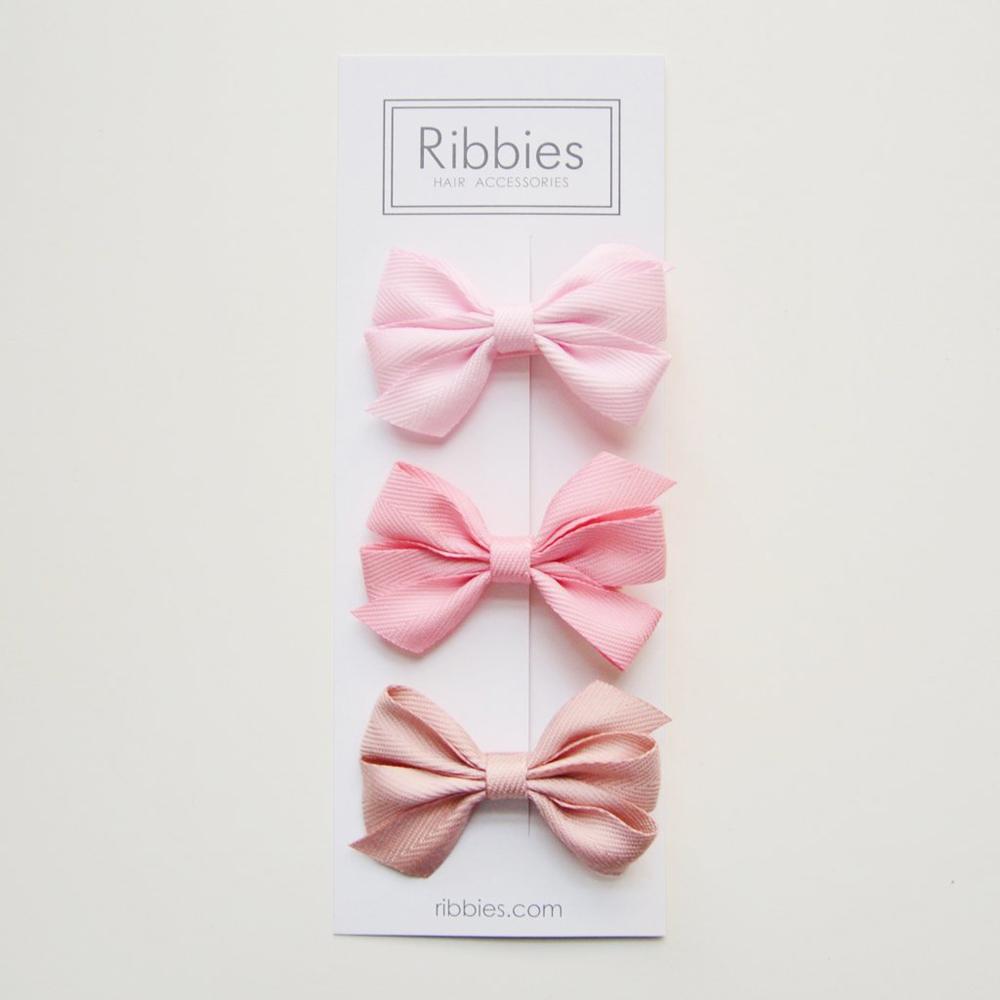 Ribbies 三層中蝴蝶結3入組-粉紅系列