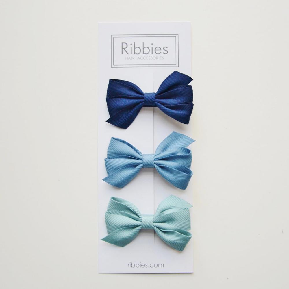 Ribbies|三層中蝴蝶結3入組-藍色系列