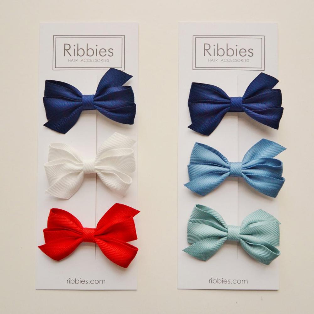 Ribbies 三層中蝴蝶結3入組-藍色系列