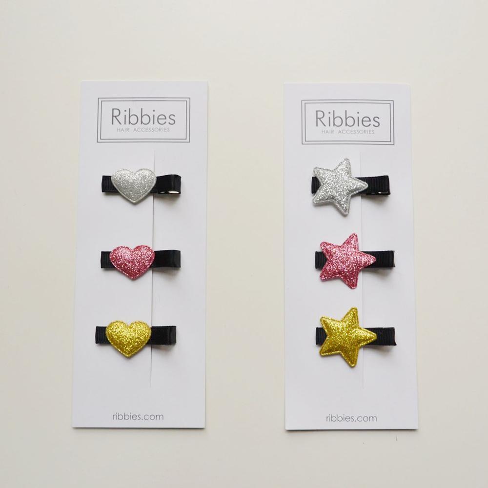 Ribbies|閃亮/粉紅/金星星3入組-黑底