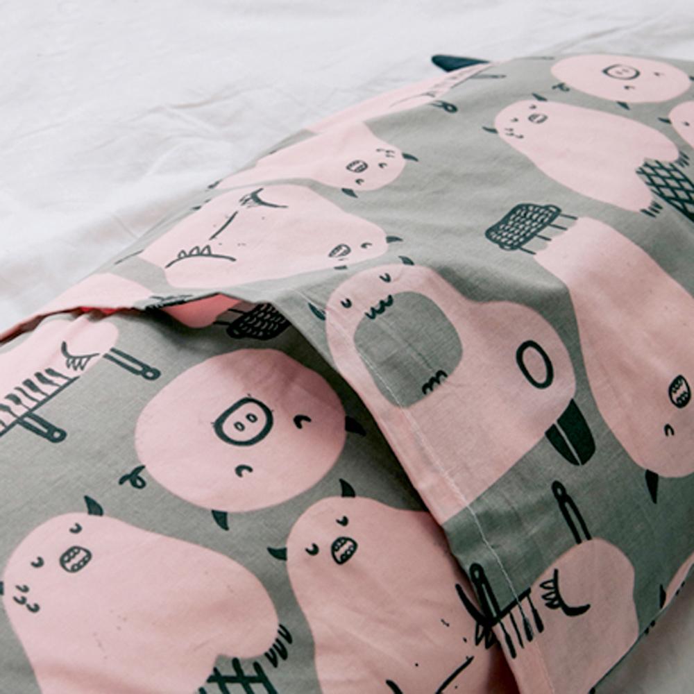 Daby|小怪獸幼兒造型枕-粉紅兔兔烏龜