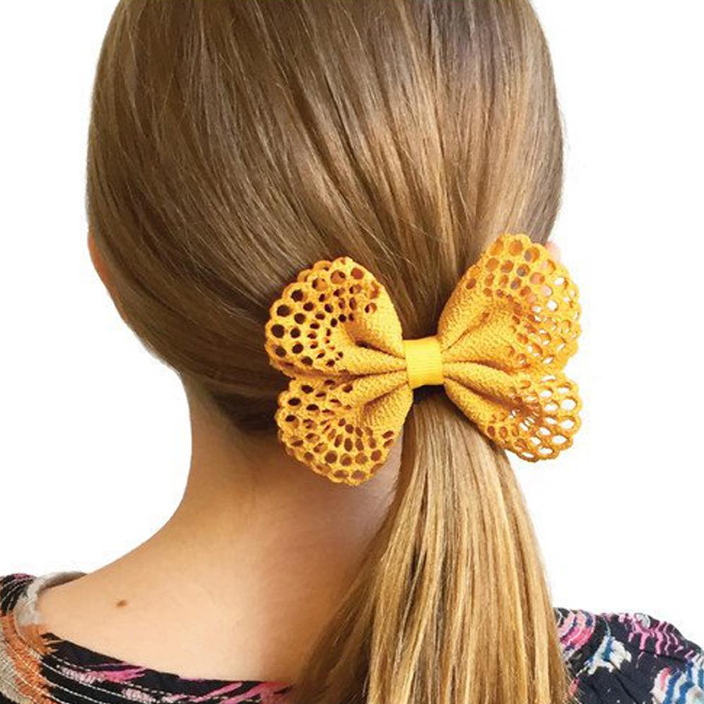 Ribbies| 典雅洞洞蝴蝶結髮夾(2入)-黃/玫瑰粉