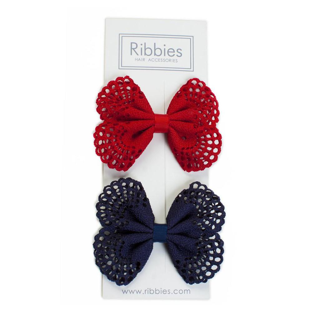 Ribbies| 典雅洞洞蝴蝶結髮夾(2入)-海軍藍/紅
