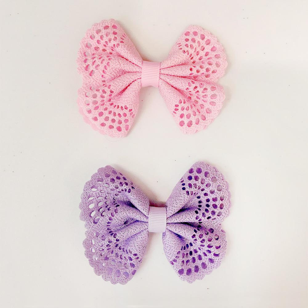 Ribbies| 典雅洞洞蝴蝶結髮夾(2入)-淺粉/淺紫