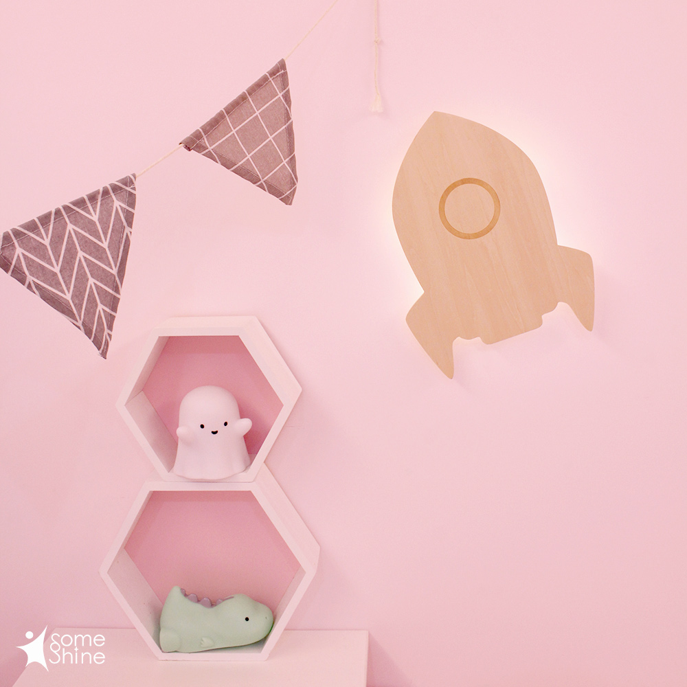 台灣SomeShine|木質剪影壁燈-火箭