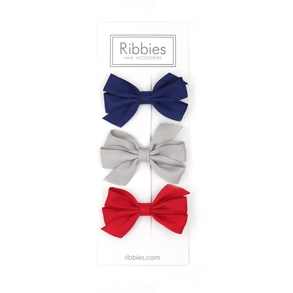 Ribbies|三層中蝴蝶結3入組-紅藍系列
