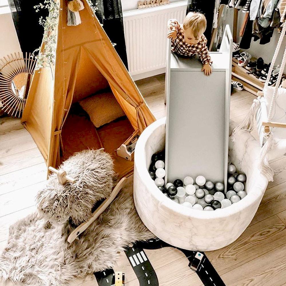 波蘭Misioo 高級木製溜滑梯-時尚灰