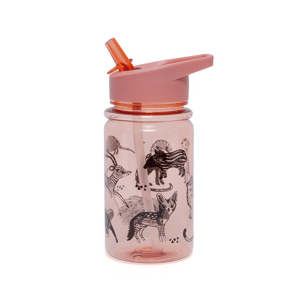 Petit Monkey|兒童水杯400(ml)-玫瑰粉黑白動物