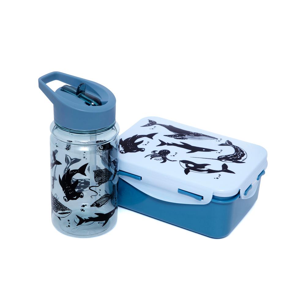 Petit Monkey|兒童水杯400ml-單寧藍黑白動物