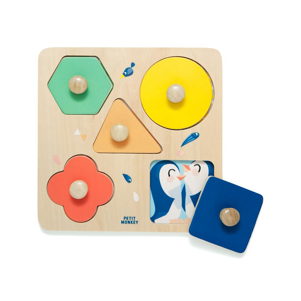 Petit Monkey|經典木玩-動物園幾何形狀拼圖(1Y+)