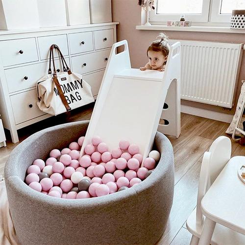 波蘭Misioo|遊戲球池-100x40淺灰(珍珠粉紅、珍珠白、珍珠灰、透明球四色400顆)