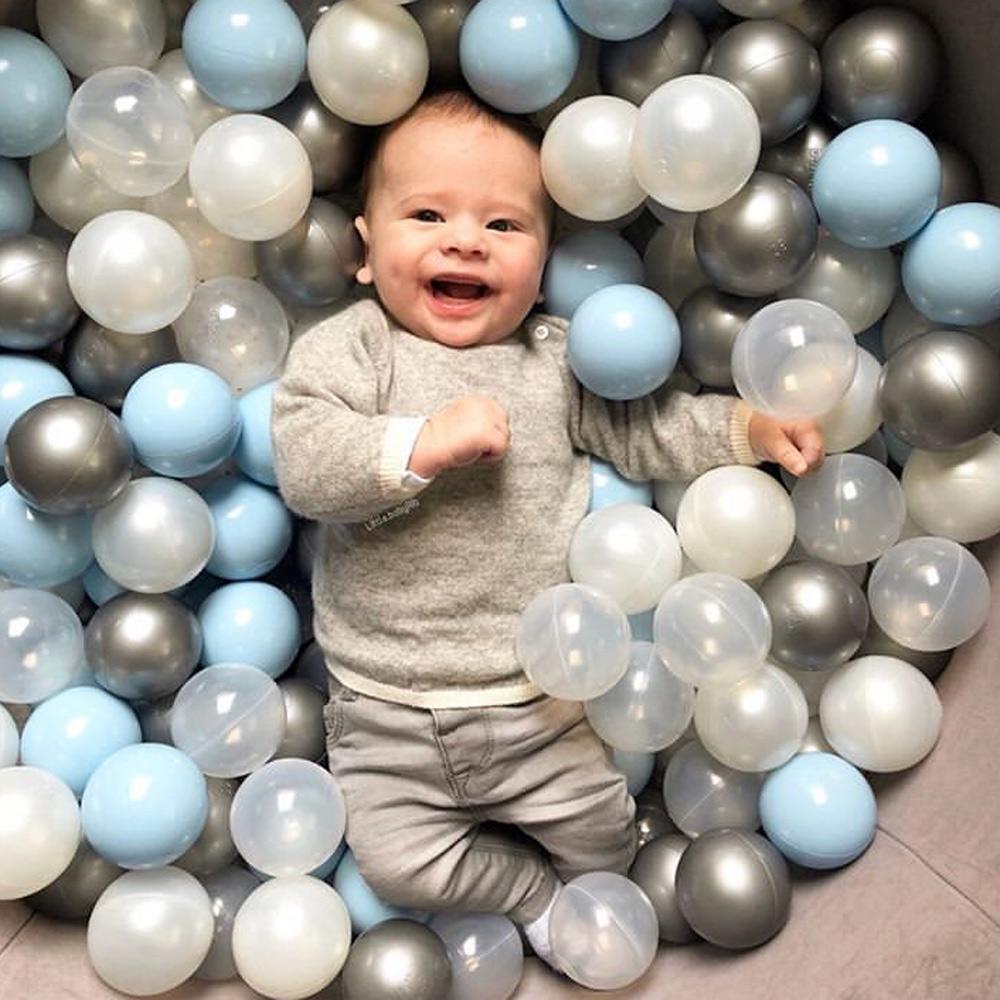 波蘭Misioo 遊戲球池-100x40淺灰(粉藍、珍珠白、珍珠灰、透明球四色400顆)