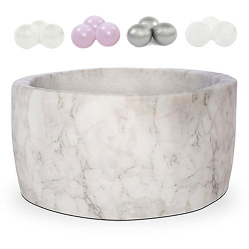 波蘭Misioo 遊戲球池-100x40大理石(珍珠粉紅、珍珠白、珍珠灰、透明球四色400顆)