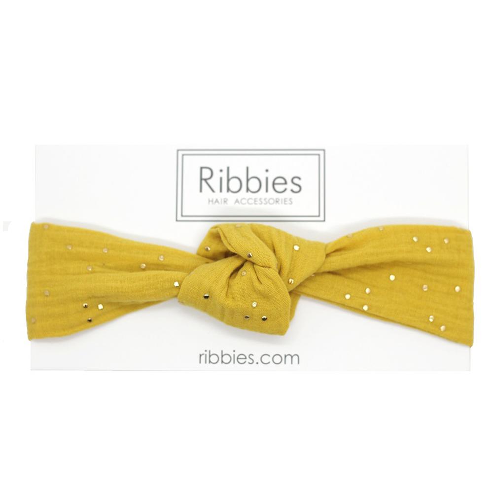 Ribbies 兒童寬版扭結髮帶-芥末黃金點點