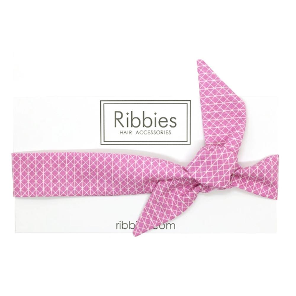 Ribbies|兒童蝴蝶結髮帶-粉紅幾何圖形