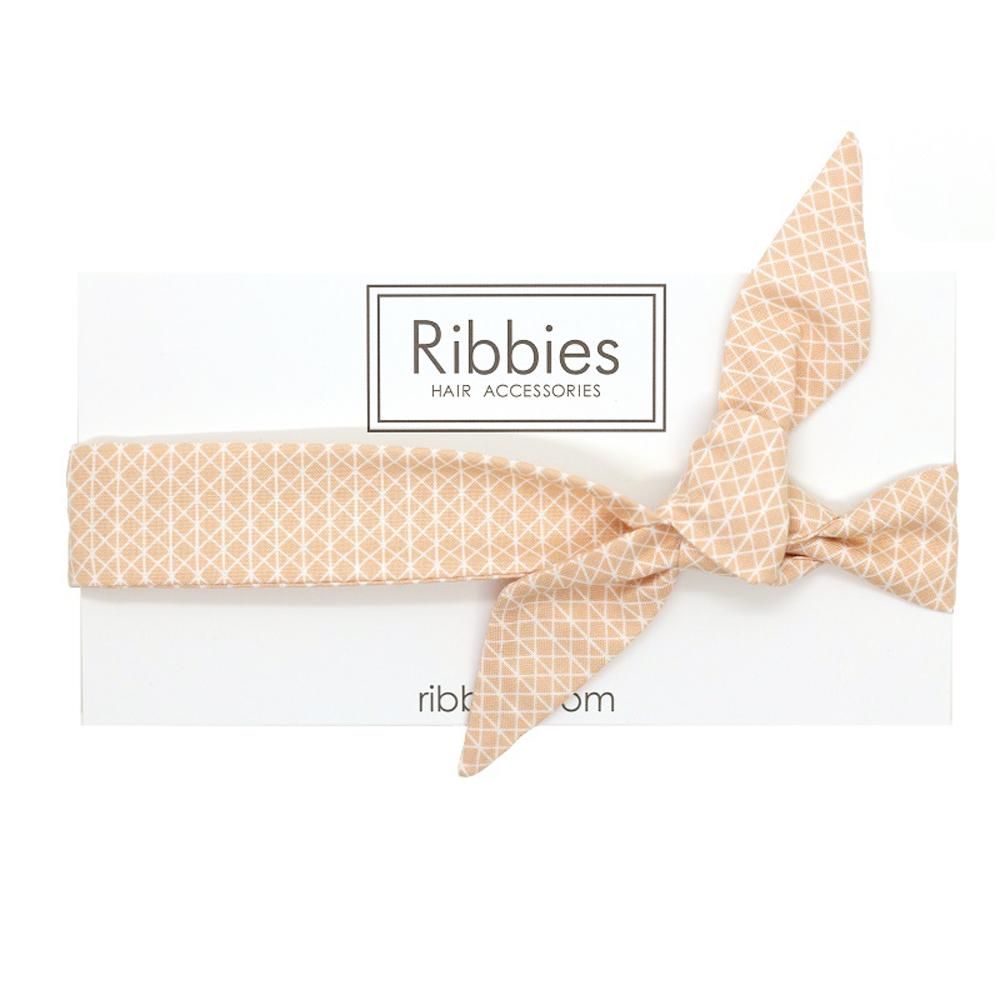 Ribbies 成人蝴蝶結髮帶-甜桃幾何圖形
