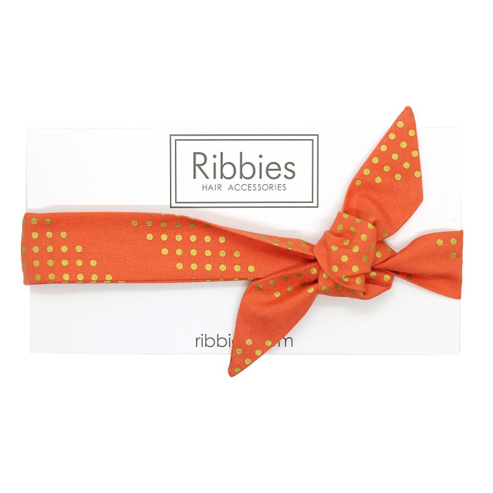 Ribbies 成人蝴蝶結髮帶-珊瑚紅金點點