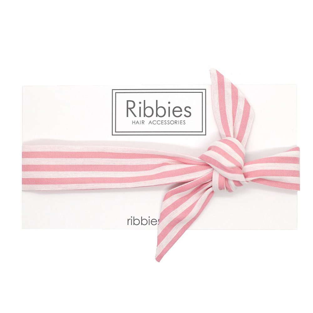 Ribbies 成人蝴蝶結髮帶-粉紅白條紋