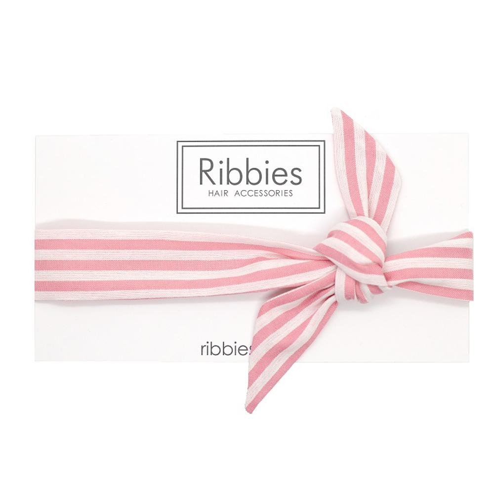 Ribbies|成人蝴蝶結髮帶-粉紅白條紋