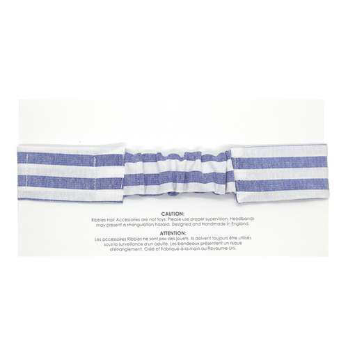 Ribbies 成人蝴蝶結髮帶-粉藍白條紋