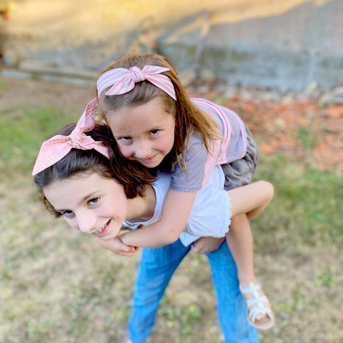 Ribbies|成人蝴蝶結髮帶-粉藍白條紋