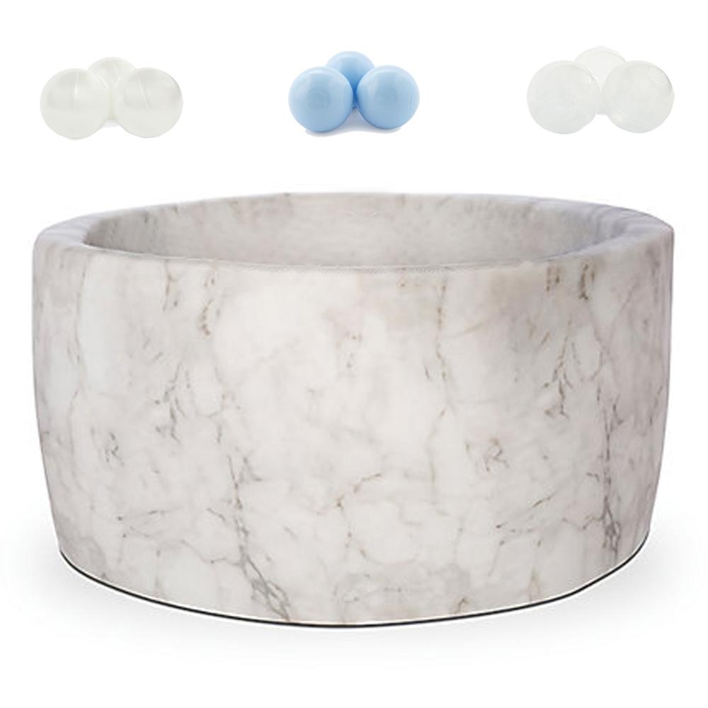 波蘭Misioo|遊戲球池-100x40大理石(內含300顆球,粉藍、珍珠白、透明球三色)