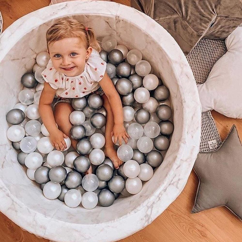 波蘭Misioo|遊戲球池-100x40大理石(內含300顆球,粉紅、珍珠白、透明球三色)