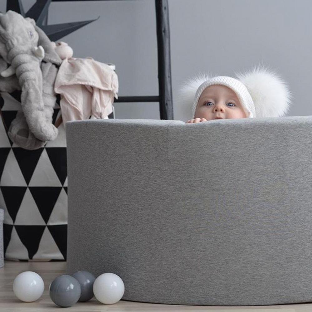 波蘭Misioo 遊戲球池-100x40淺灰(內含300顆球,粉紅、珍珠白、透明球三色)