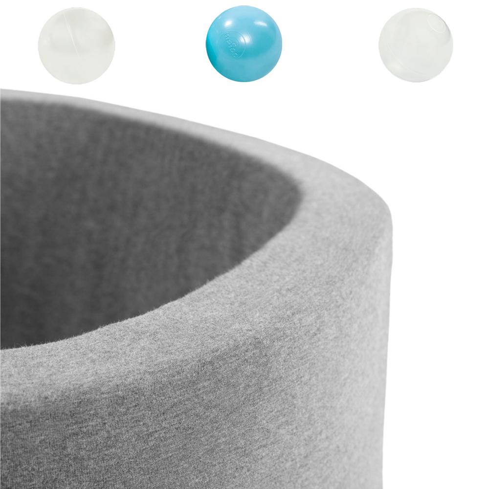 波蘭Misioo|遊戲球池-90x40淺灰(內含150顆球,薄荷綠、珍珠白、透明球三色)