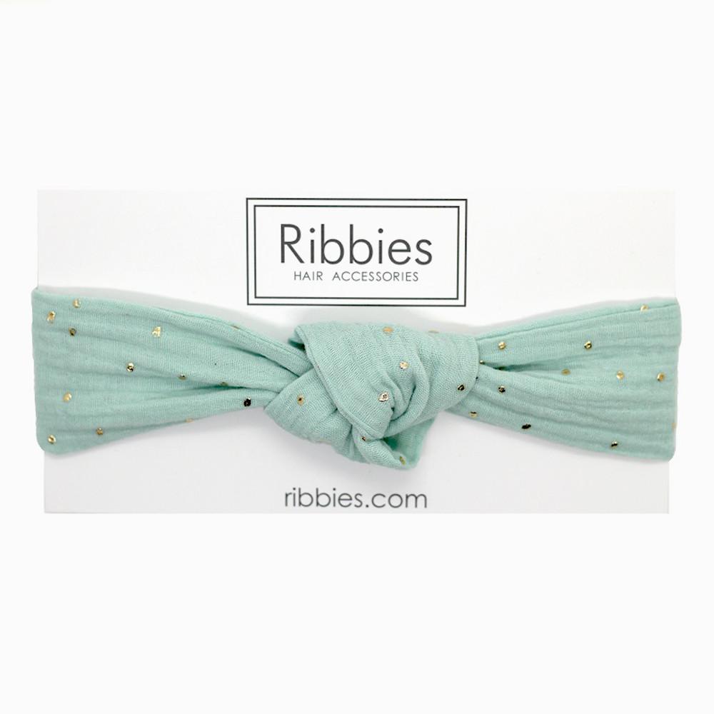 Ribbies|成人寬版扭結髮帶-薄荷綠金點點
