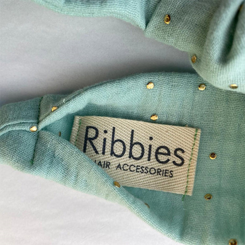 Ribbies 成人寬版扭結髮帶-芥末黃金點點