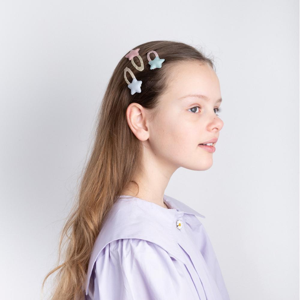 英國Mimi & Lula|SS21_粉彩東京星星滴答髮夾4入