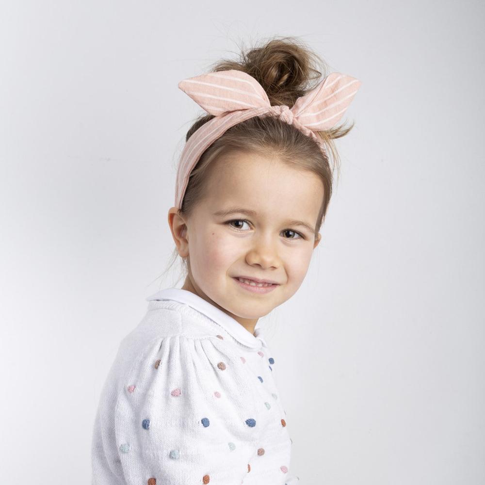 英國Mimi & Lula|SS21_粉紅條紋立體蝴蝶結髮圈