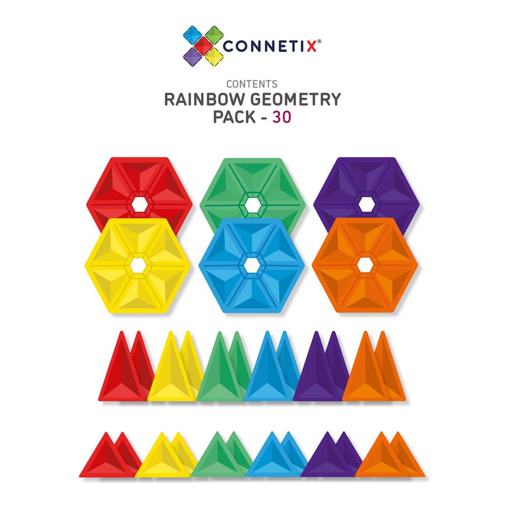 澳洲Connetix|彩虹磁力積木-幾何圖形組(30pc)