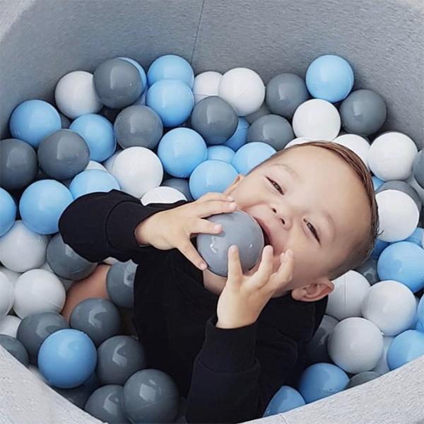 波蘭Misioo|遊戲球池-100x40淺灰(粉藍、珍珠白、珍珠灰、透明球四色400顆)