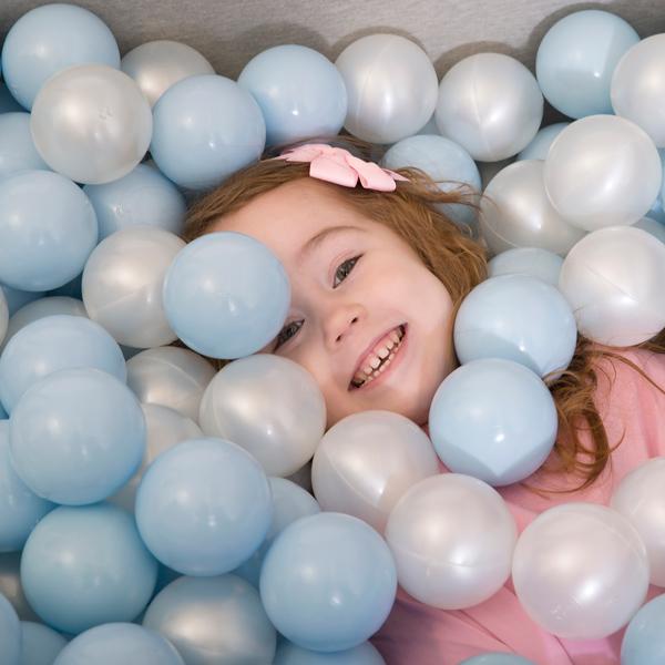 波蘭Misioo|遊戲球池-100x40大理石(粉藍、珍珠白、珍珠灰、透明球四色400顆)