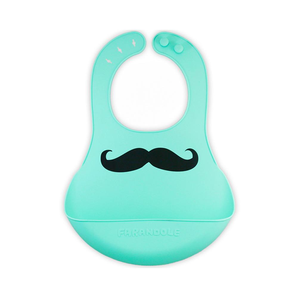FARANDOLE|嬰幼兒安全無毒防水矽膠圍兜(翹鬍子-藍綠底)