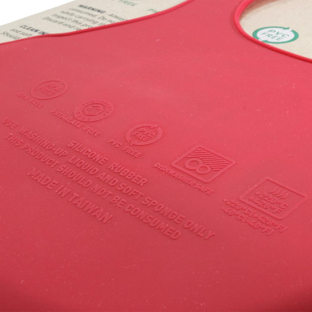 FARANDOLE 嬰幼兒安全無毒防水矽膠圍兜(滿-紅底)