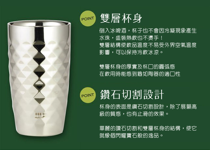 Migakiya│日本 手工研磨 雙層鑽石啤酒杯 2入組