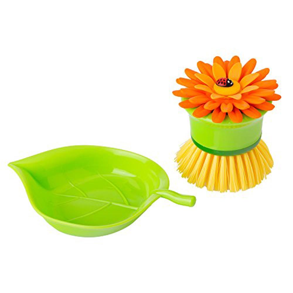 Vigar│花花系列 橘色花花短柄洗碗刷