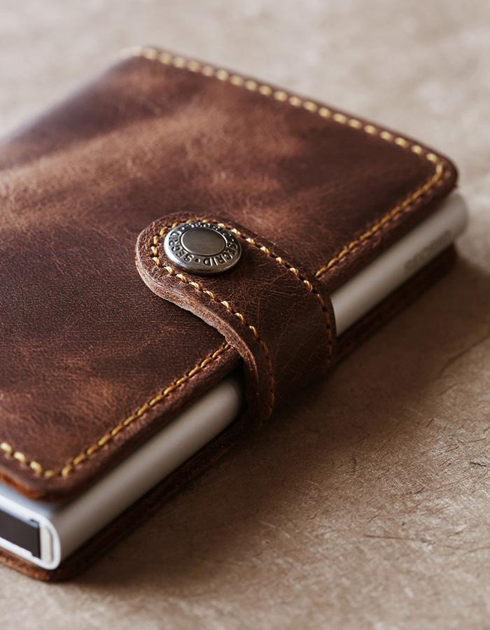 荷蘭 SECRID|RFID安全防盜錄 Miniwallet Vintage 復古真皮錢包卡夾 - 深咖