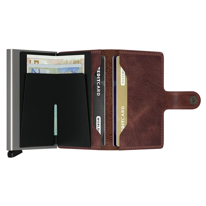 荷蘭 SECRID RFID安全防盜錄 Miniwallet Vintage 復古真皮錢包卡夾 - 深咖