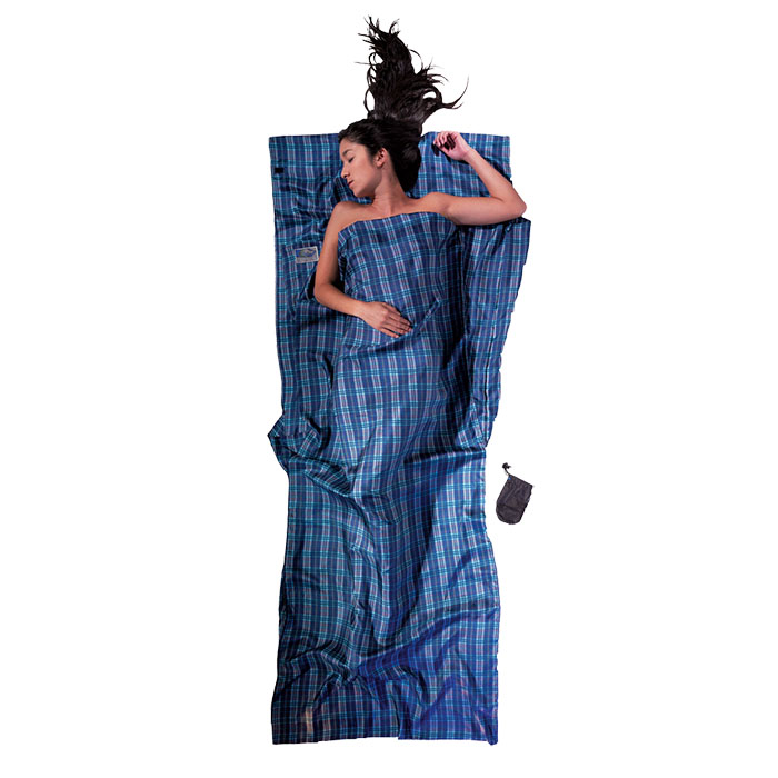 奧地利 COCOON|輕巧親膚 100%純絲 旅用床單 / 睡袋內袋-藍格紋