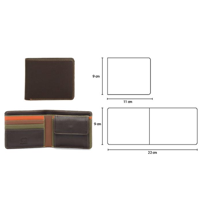 (複製)義大利 mywalit|繽紛配色真皮革 對折小牛皮短夾(可放零錢) - 黑x彩紅
