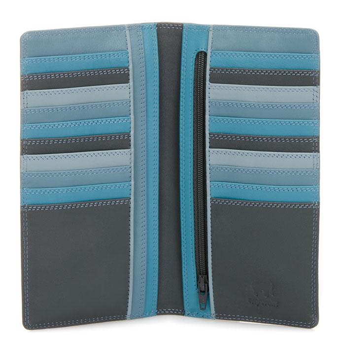 (複製)義大利 mywalit 繽紛配色真皮革 對折小牛皮長夾 - 藍色