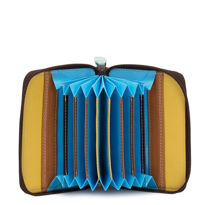 (複製)義大利 mywalit|繽紛配色真皮革 小牛皮扇形卡片夾 -皇家藍