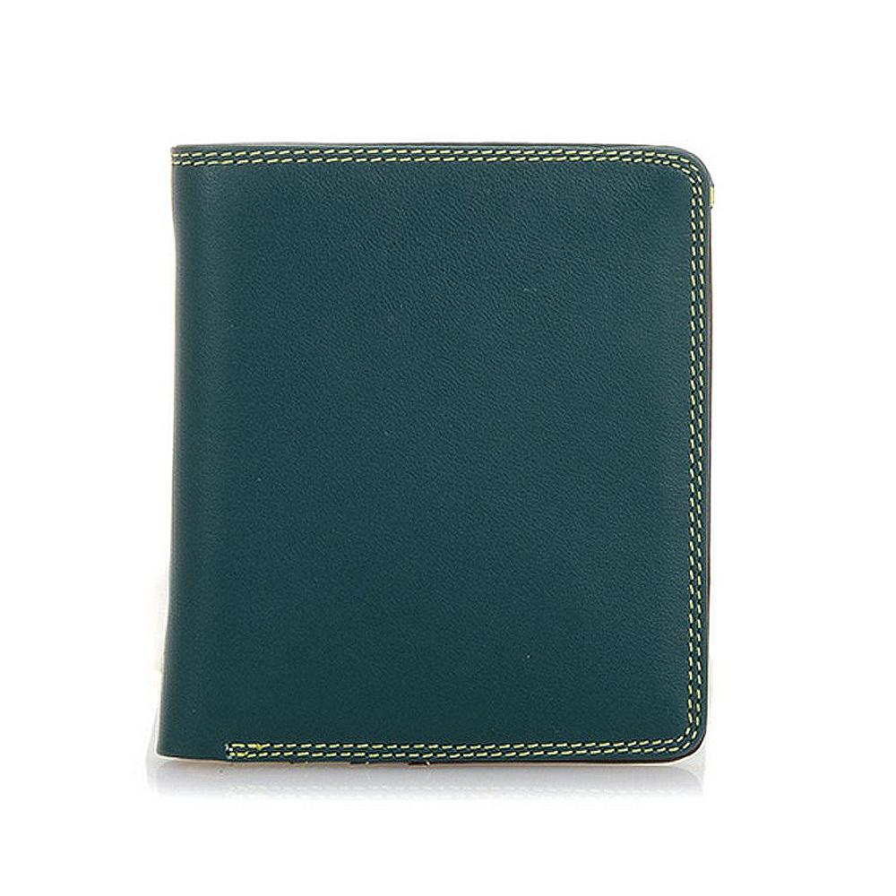 義大利 mywalit 繽紛配色真皮革 簡約對折小牛皮短夾 - 森綠