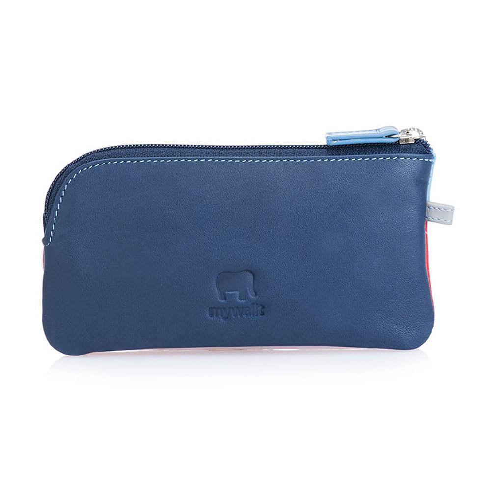 義大利 mywalit|繽紛配色真皮革 小牛皮鑰匙零錢包 -皇家藍
