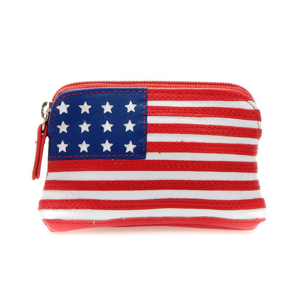 義大利 mywalit|繽紛配色真皮革 萬國國旗小零錢包 - 美國